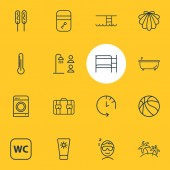 Vector illustration of 16 travel icons line style Editable set of basketball shared bathroom check out time and other icon elements