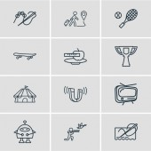 Vector illustration of 12 entertainment icons line style Editable set of tv stitching tennis and other icon elements