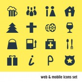 Vector illustration of 16 location icons Editable set of cinema shopping bag restroom and other icon elements