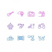 Vector illustration of 12 entertainment icons line style Editable set of travelling hot air balloon puzzle and other icon elements