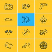 Vector illustration of 12 lifestyle icons line style Editable set of radio design math and other icon elements