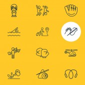Vector illustration of 12 lifestyle icons line style Editable set of baseball glove gardening acting and other icon elements