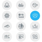 Vector illustration of 12 marine icons line style Editable set of perch ship rudder ferry and other icon elements