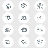 Vector illustration of 12 marine icons line style Editable set of ship window pike fish baked fish and other icon elements