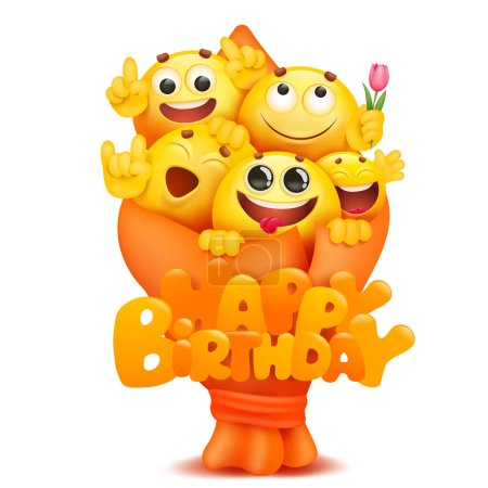 Illustration for Emoji bouquet with cartoon yellow smile face characters. Happy birthday card template. Vector illustration - Royalty Free Image