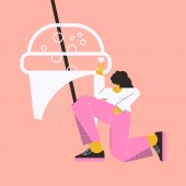 Woman with a drink Female character isolated on a pink background Trendy geometric colored vector illustration in flat style