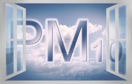 Image conceptuelle des particules (poussières fines PM10) dans l'air  -