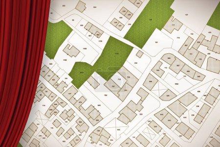 imaginäre Katasterkarte des Territoriums mit Gebäuden, Straßen, Land