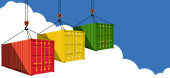 Shipping container on blue sky