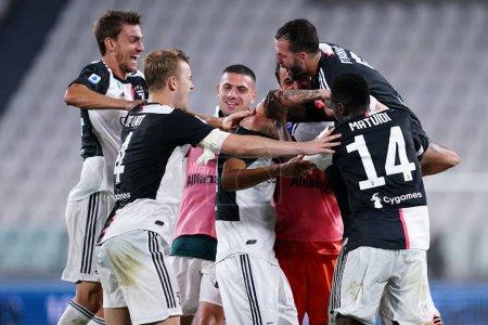 Foto de Torino (Italia) 26 de julio de 2020. Serie A. Juventus Fc vs Uc Sampdoria. Los jugadores del Juventus FC celebran - Imagen libre de derechos
