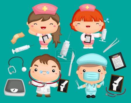 Illustration pour Un ensemble d'images de médecins et d'infirmières avec du matériel médical - image libre de droit