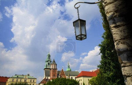 Street lamp close up at Wawel Royal Castle, top attraction in Krakow, Poland.