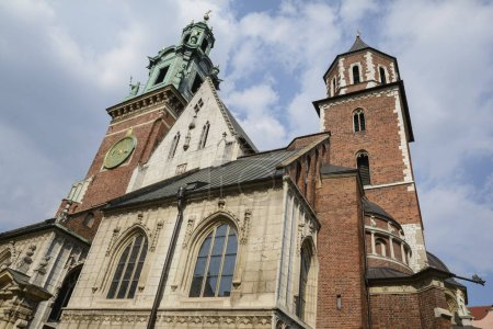 The Royal Archcathedral Basilica of Saints Stanislaus and Wenceslaus on the Wawel Hill. Architecture close up, part of Wawel Castle in Krakow, Poland.