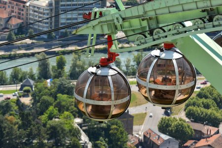 Photo for GRENOBLE, FRANCE - JULY 17, 2017. The bubbles - gondola spherical cable car taking passengers from the center of city to the ancient Fort de Bastille - Royalty Free Image