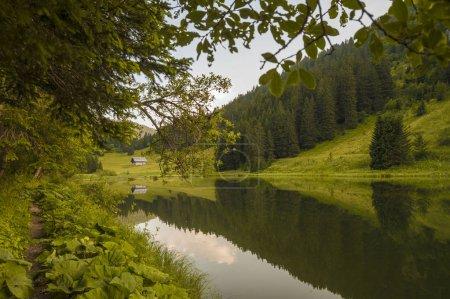 Photo pour Soirée d'été au lac Morgins, Alpes, Suisse - image libre de droit