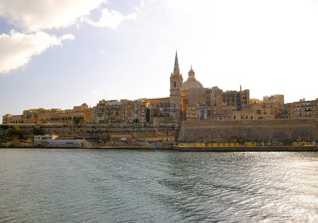 Photo for VALLETTA, MALTA - NOVEMBER 3, 2014. Valletta capital of Malta Island - city view , St. Paul's Cathedral. - Royalty Free Image