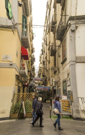 Photo for NAPLES, ITALY - NOVEMBER 11,2015.Typical autumn day in Quartieri Spagnoli (Spanish Quarters) , part of the city of Naples, one of the most attractive city in Italy and entire world. - Royalty Free Image