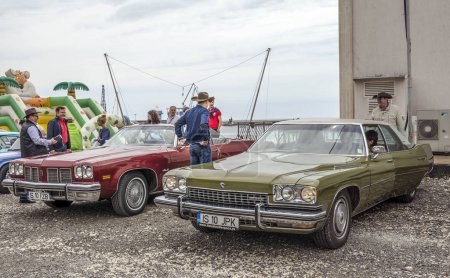 """Photo for BALCHIK, BULGARIA - MAY 20, 2016.Retro car rally from Bucharest to the Bulgarian Black Sea at Balchik and then sailing with vintage boats, during the event """" Follow your passion """" - Retro Regatta 2016 - Royalty Free Image"""