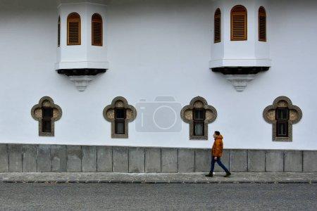 Photo for SINAIA, ROMANIA - NOVEMBER 6, 2018. Walls of courtyard, Sinaia Monastery, Prahova Valley, Romania. - Royalty Free Image