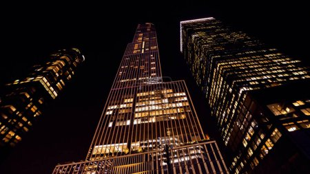 Photo for Modern skyscrapers at night in New York, USA - Royalty Free Image