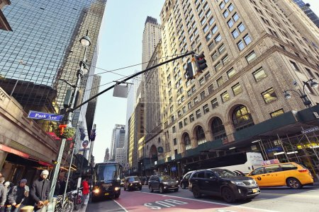 Photo for New York, USA - December 5, 2019. Street view in the neighbourhood of the Grand Central Terminal commuter rail terminal in Midtown Manhattan, New York City. - Royalty Free Image