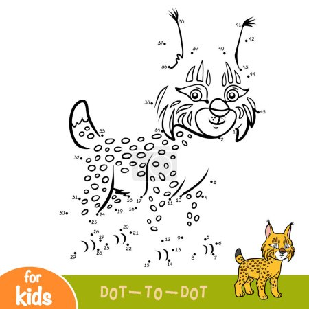 Illustration pour Chiffres jeu, éducation point à point jeu pour les enfants, Lynx - image libre de droit
