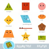 Colorful set of different geometric shapes Visual dictionary for children