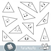 Black and white set of triangles Visual dictionary for children about geometric shapes