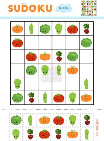 Illustration pour Sudoku pour les enfants, jeu éducatif. Ensemble de légumes avec des visages drôles. Utilisez des ciseaux et de la colle pour remplir les éléments manquants - image libre de droit