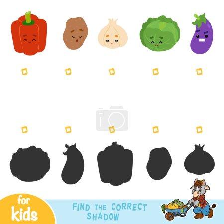Illustration pour Trouver l'ombre correcte, jeu pour les enfants. Ensemble de légumes avec des visages drôles - image libre de droit