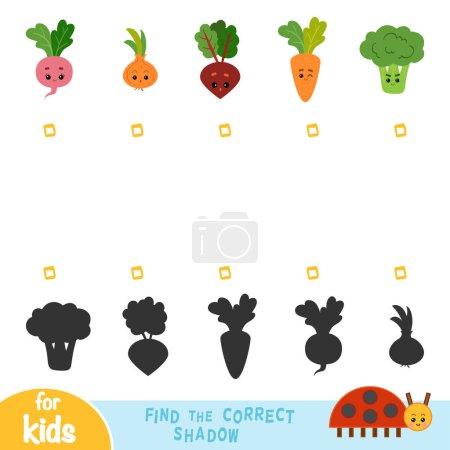 Illustration pour Trouver l'ombre correcte, jeu d'éducation pour les enfants. Ensemble de légumes avec des visages drôles - image libre de droit