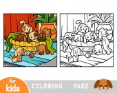 Coloring book for children Six dogs