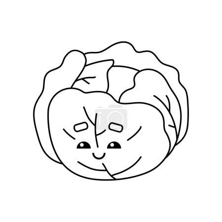 Illustration pour Livre à colorier pour enfants, Chou au visage mignon - image libre de droit