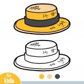 Coloring book cartoon headwear Boater hat