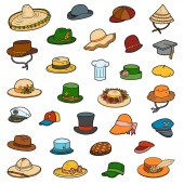 Vector set of hats color collection of clothes and accessories