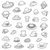 Vector set of hats black and white collection of clothes and accessories