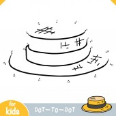 Numbers game dot to dot game for children Boater hat