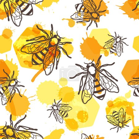 Illustration for Vector seamless pattern with linear bee, liquid honey and watercolor honeycombs. Organic honey background. Concept for honey package design, label, wrapping, prints. - Royalty Free Image
