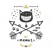 Black and golden hand drawn cute cat with big smile and crossed arrows icons on white background