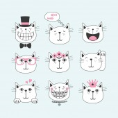 Black line cute smiling cats with different faces icons set on light blue background