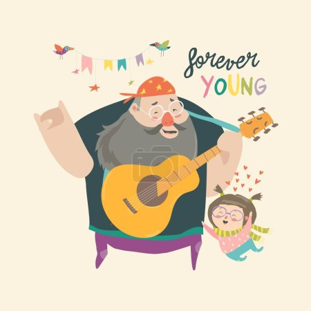 Illustration for Father playing guitar music to his daughter, loving dad and kid spending time together. Vector Illustration - Royalty Free Image