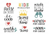 Set of 9 Hand lettering christian quotes Jesus is my kingRely Kids bible study Be good Girls Boys Walk by faith Kids ministry