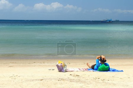 Photo for Tourist enjoy the beauty of nature Koh Tao views from Sairee beach Surat Thani, Thailand - Royalty Free Image