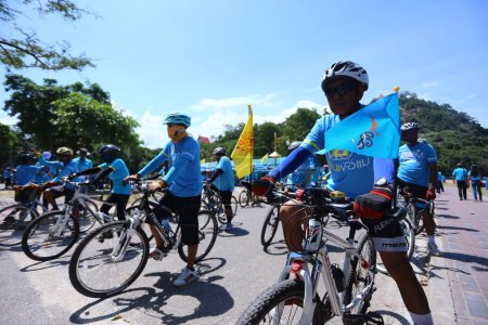 """Photo for PRACHUAP KHIRI KHAN AUGUST 16:Unidentified cyclists at """"Bike for mom""""event show respected to Queen of Thailand by the participant cycling, on August 16, 2015, Prachuap khiri khan,Thailand - Royalty Free Image"""