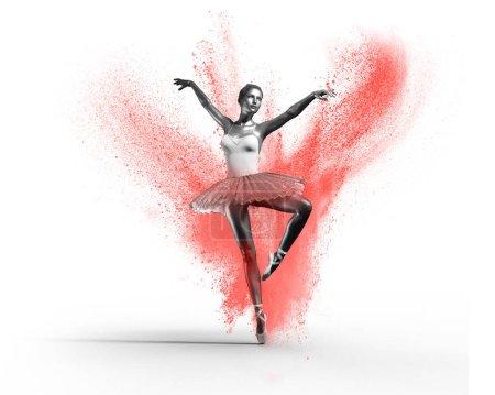Jeune et belle ballerine avec tutu. Ceci est une illustration de rendu 3d .