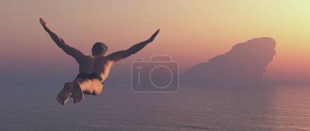 Photo pour L'athlète saute dans un lac. Ceci est une illustration de rendu 3d - image libre de droit