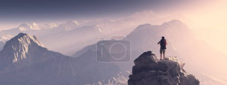 Photo for Hiker on top of a mountain at sunset. 3d render illustration - Royalty Free Image