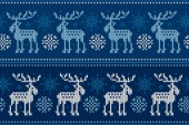 Winter Holiday Seamless Knitted Pattern with Elks and Snowflakes Knitting Sweater Design Wool Knitted Texture