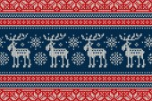 Christmas Knitting Pattern with Elks and Snowflakes Scheme for Wool Knit Winter Holiday Sweater Seamless Pattern Design or Cross Stitch Embroidery