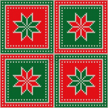 Illustration for Ugly Sweater Party Pattern Design. Christmas Holiday Seamless Wool Knit Texture Background with Snowflakes Ornament. - Royalty Free Image